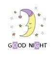 cute sleeping crescent moon in night sky vector image vector image
