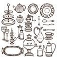 Dishes doodle sketch set print vector image vector image