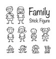 family stick figure doodle set vector image vector image