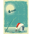 fishing in winter snow vector image