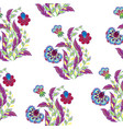 floral seamless pattern with hand drawing vector image vector image