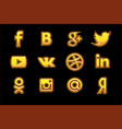 golden icons social media buttons set vector image vector image