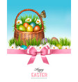 happy easter background basket with eggs and a vector image