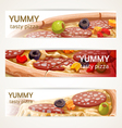 horizontal banners with tasty pizza vector image