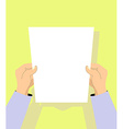 human hands with paper vector image
