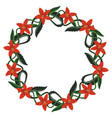 isolated beautiful wreath with red spiked flowers vector image vector image
