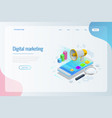 isometric concept analytics strategy vector image vector image