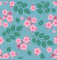 leaves and pink flowers seamless pattern vector image vector image