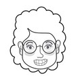 line woman face with hairstyle and glasses vector image vector image