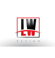 lw l w logo letters with red and black colors and vector image vector image