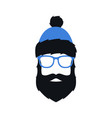 man in winter blue hat glasses and with beard vector image vector image