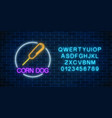 neon glowing sign of corn dog in circle frame vector image vector image