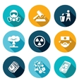 Nuclear Power in Japan Icons Set vector image vector image
