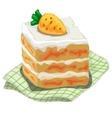 Piece of delicious cake with carrot on top vector image vector image