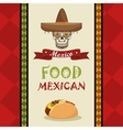 poster food and skull mexican design vector image vector image