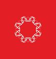 red white ornament logo vector image