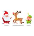 santa and elf cartoon characters jumping high icon vector image vector image