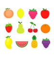 set of different fruits in flat style peach vector image