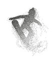 silhouette of a snowboarder jumping divergent vector image vector image