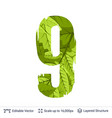 spring green bright leaves number vector image vector image