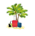 travel with suitcases and palm trees vector image