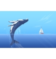 Jump humpback big huge whale near small boat ship vector image