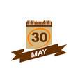 30 may calendar with ribbon vector image vector image