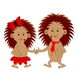 A couple of funny cartoon hedgehogs vector image vector image