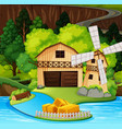 a rural house scene vector image vector image