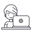 boy working on laptop line icon sign vector image vector image