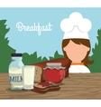 breakfast girl chef milk jam toast landscape vector image vector image