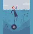 businesswoman drowning chained with a weight job vector image