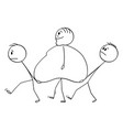 cartoon fat overweight man walking with two vector image vector image