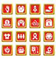 charity icons set red square vector image vector image