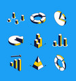 charts and diagrams - isometric icons set vector image