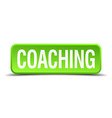 Coaching green 3d realistic square isolated button vector image