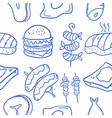 collection of food various doodle set vector image vector image