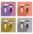 concept of flat icons with long shadow friendship vector image vector image