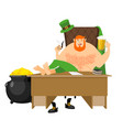 cool leprechaun relaxing mug beer and pipes tough vector image vector image