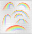 different rainbow light shapes isolated vector image vector image