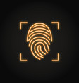 fingerprint scan icon in glowing neon style vector image vector image