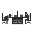 Flat office icon with fizzle out workers isolated vector image vector image