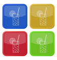 four square color icons carbonated drink citrus vector image