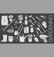 gardening tools and plants or flowers glyph icons vector image