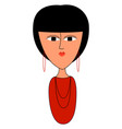girl in red shirt on white background vector image vector image