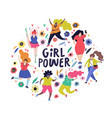 girl power fat woman vector image