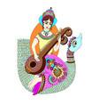hand drawing of indian hindu goddess saraswati vector image vector image