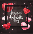 happy valentines day hand lettering with glitter vector image