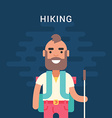 hiking concept smiling bearded young man vector image
