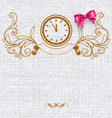 Invitation card with vintage elements and bow vector image vector image